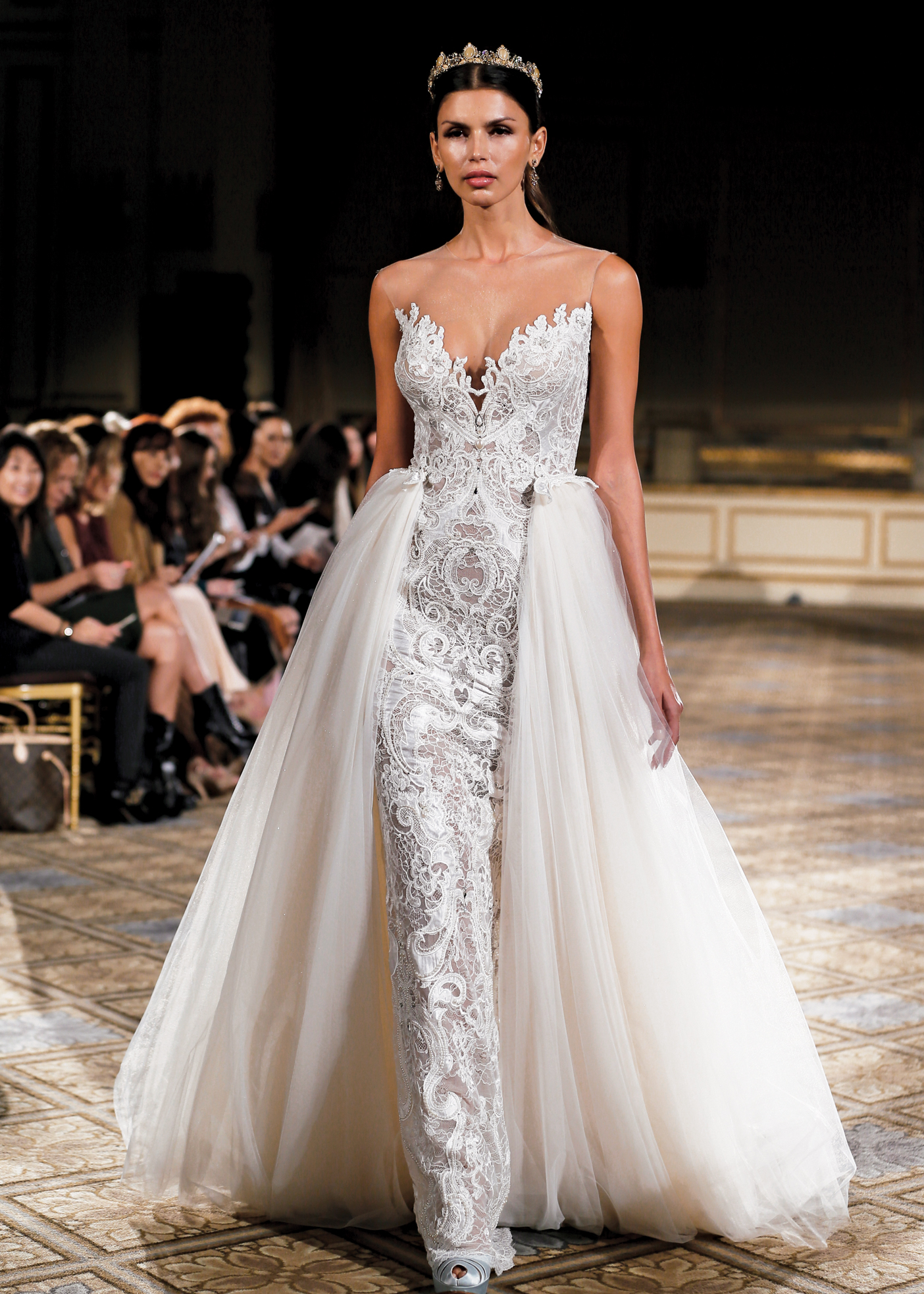 Berta Avant Garde Strapless Fit To Flare Wedding Gown NY NJ