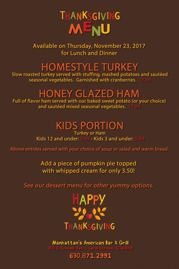 2017 Thanksgiving Menu at Manhattan's