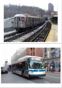 bus and elevated train