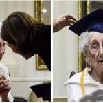 Idosa chora ao receber diploma do ensino médio