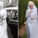 Casal celebra 50 anos de casamento e resolveu usar o vestido e o smoking que eles usaram em 1966