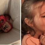 Menina joga no lixo o estojo que não gostou e a mãe fez que fosse para a escola com um saco plástico
