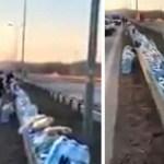Algumas pessoas deixaram comida e água à beira da estrada para os caminhoneiros na Alemanha
