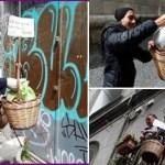 Moradores de Nápoles, Itália, colocam cestas básicas penduradas nas ruas para ajudar pessoas carentes