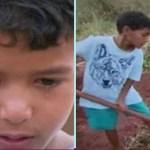 Ele tem apenas 10 anos, mas trabalha muito para sustentar a sua família na esperança de construir uma casa melhor