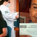 Zezé Motta e a atriz Solange Couto recebem vacina contra a Covid
