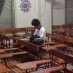 Sem eletricidade em casa, aluno fica todos os dias na sala de aula até anoitecer para estudar