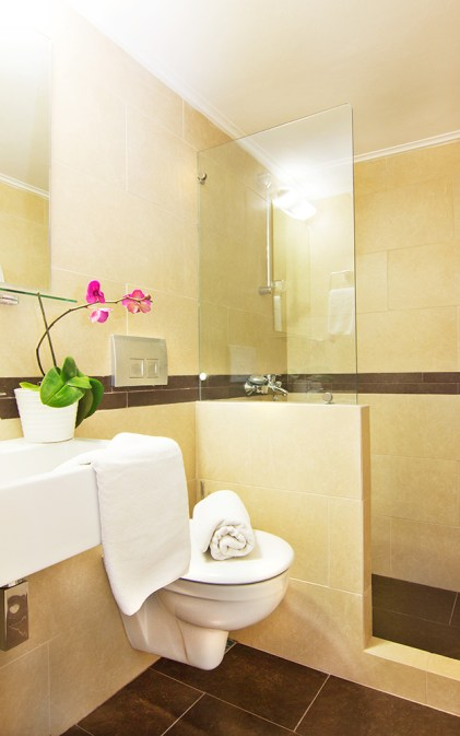 Modern design bathrooms with glass showers