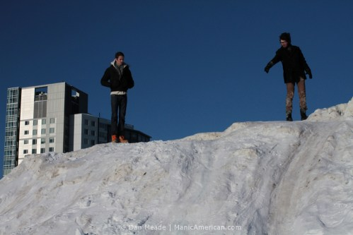 Atop the MIT Alps, sliding is the quickest way down.