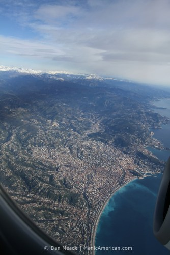 An aerial shot of Nice, situated between the Alps to the Med.