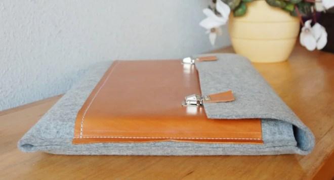 15 inch MacBook case, Macbook Pro 15 Case, 15 Macbook Bag, Macbook Pro Retina Case, MacBook case - Light grey felt & brown leather2