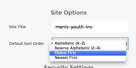 Sitedrop Settings Sort Order