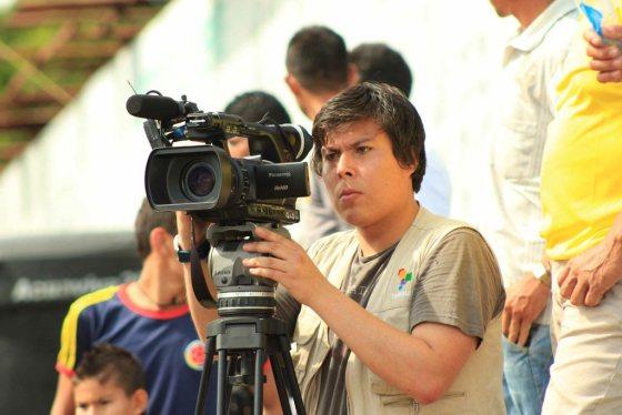 En kameramann for latinamerikanske TeleSur. Foto: Agencia Prensa Rural