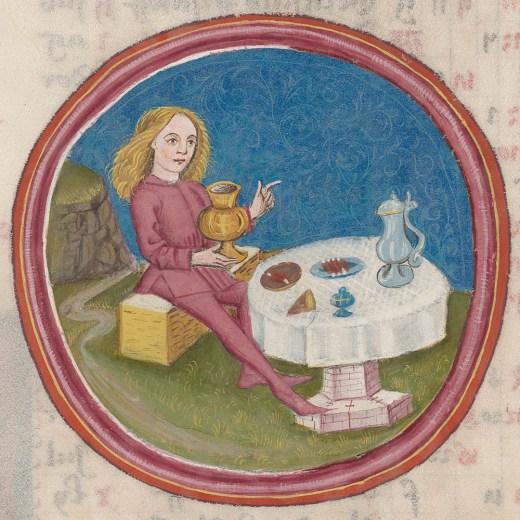 En serie bilder fra Tyskland på 1400-tallet viser arbeid gjennom årets måneder. «Arbeid i januar» framstilles ofte som en fest, kan Zürich Zentralbibliothek opplyse. Foto: e-codices
