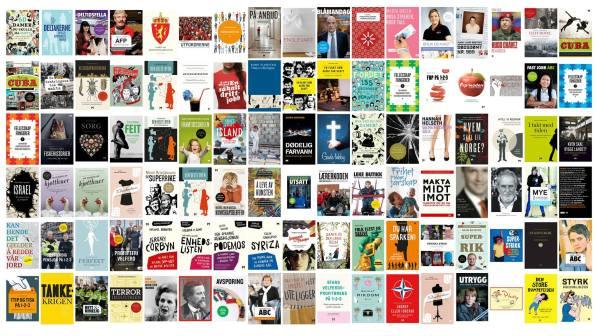 En kollasj av alle bøkene utgitt på Forlaget Manifest i løpet av ti år.