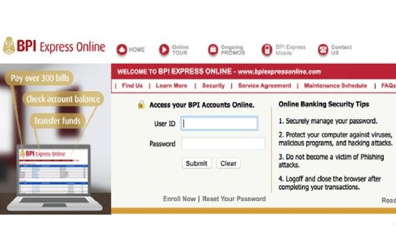Beware of the fake BPI Express online website