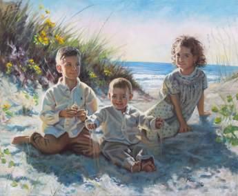 children on beach portrait