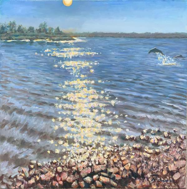 Into the Glimmering Waters is a study in how light frequencies play on the viewer. My goal is to get you to squint your eyes in order to look into the painting. The general color palette is subtle, the full spectrum present only in the reflected light.
