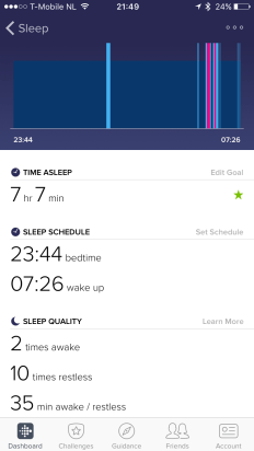 Fitbit Charge 2 Slaap analyse Nacht details