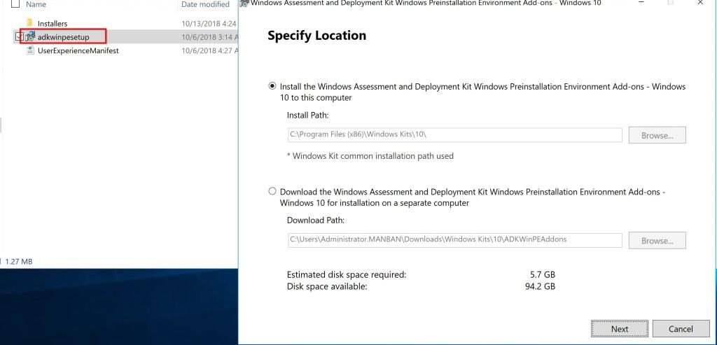 Installation of ADK for Windows 10 (version 1809) 6