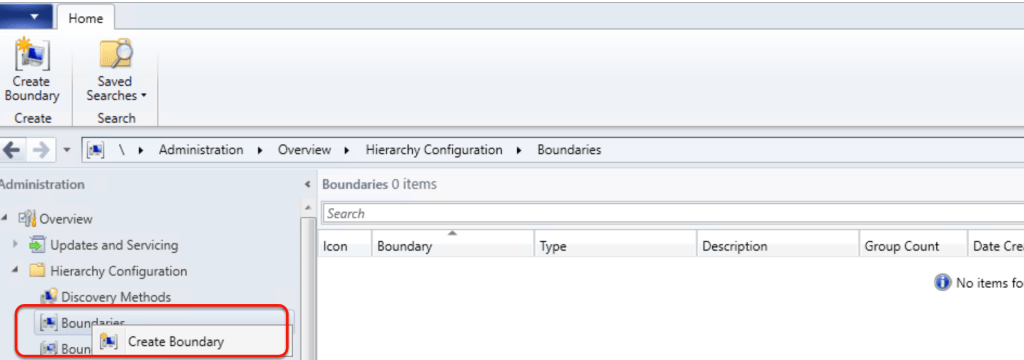 Configuring Boundaries for SCCM