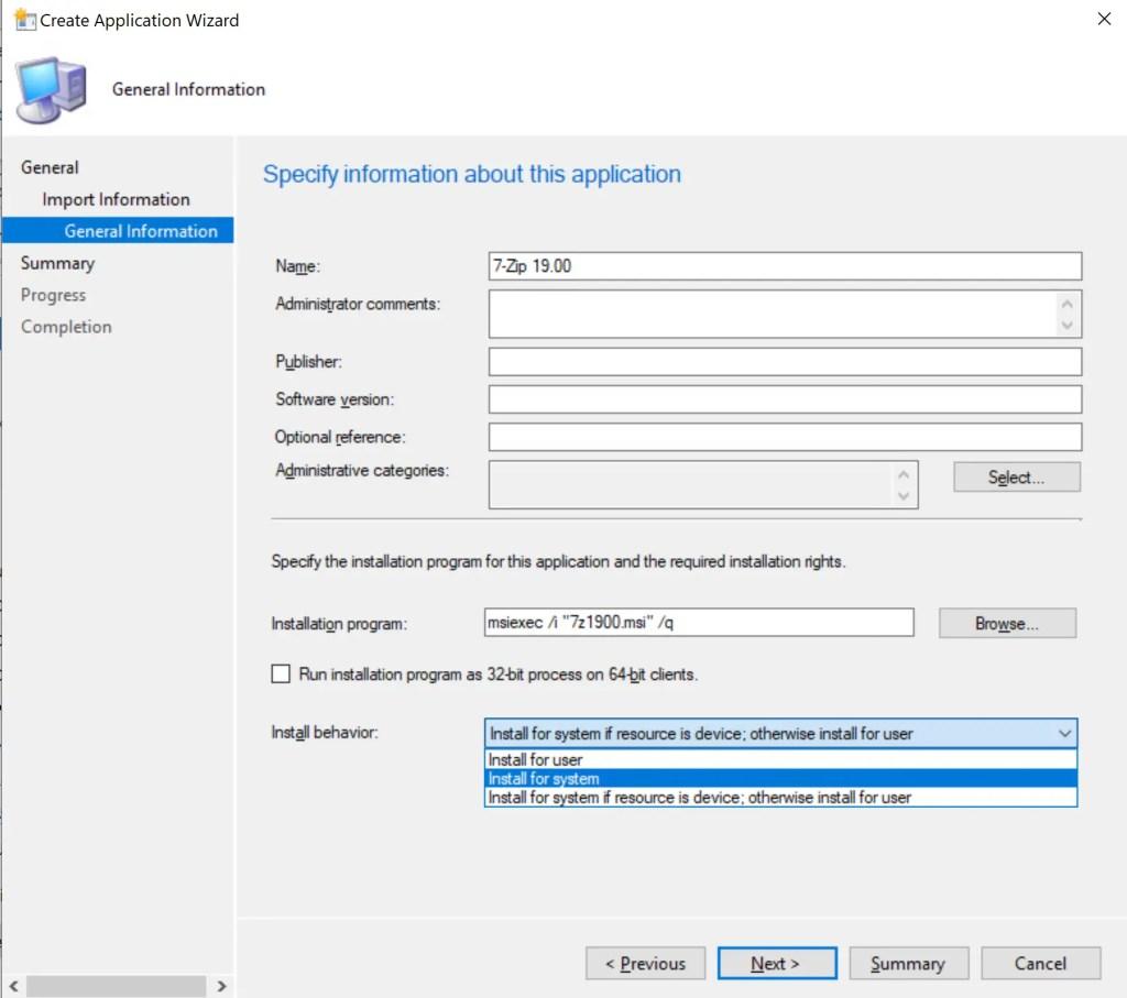 Deploy 7-Zip Application through SCCM 6