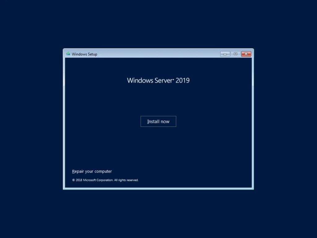Install Now Server 2019