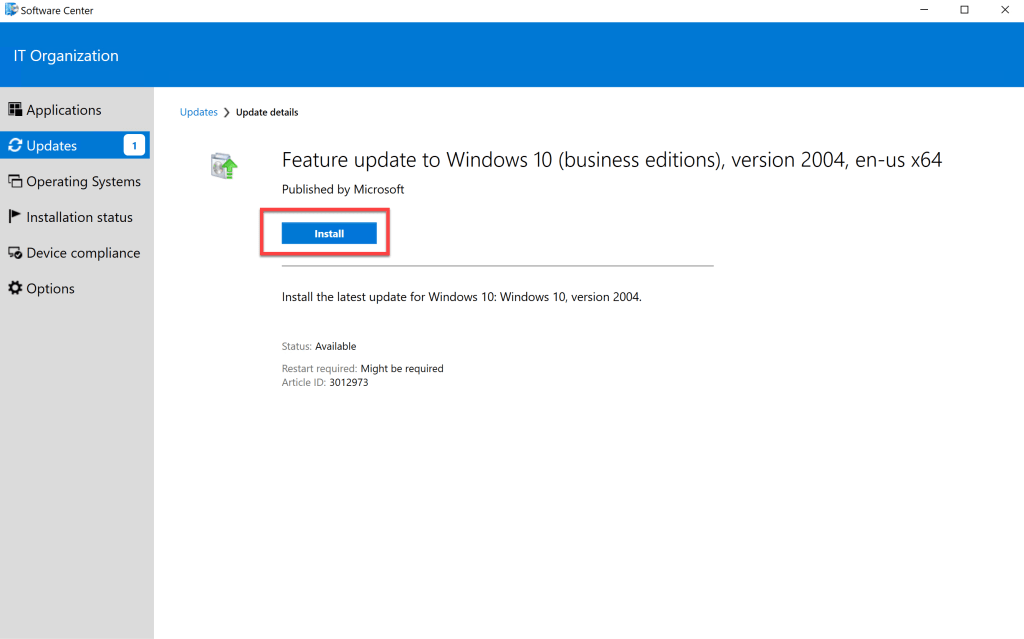 Deploy Feature Update Win10 2004 SCCM 24