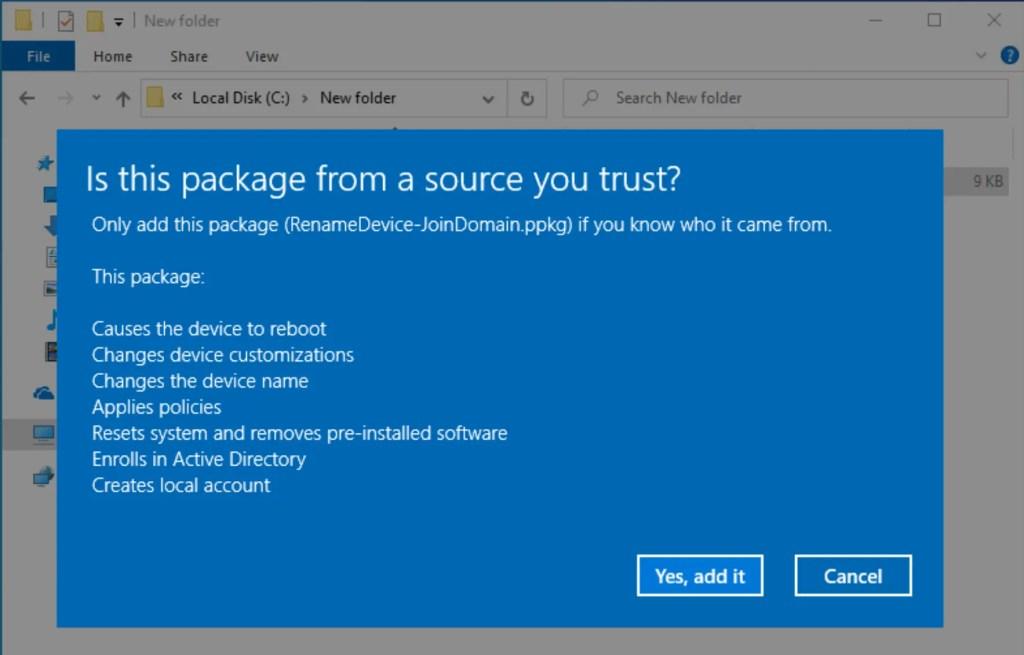 Create provisioning package using Windows Configuration Designer 8