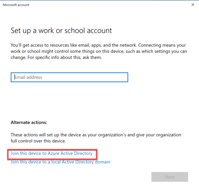 Join this device to Azure Active Directory