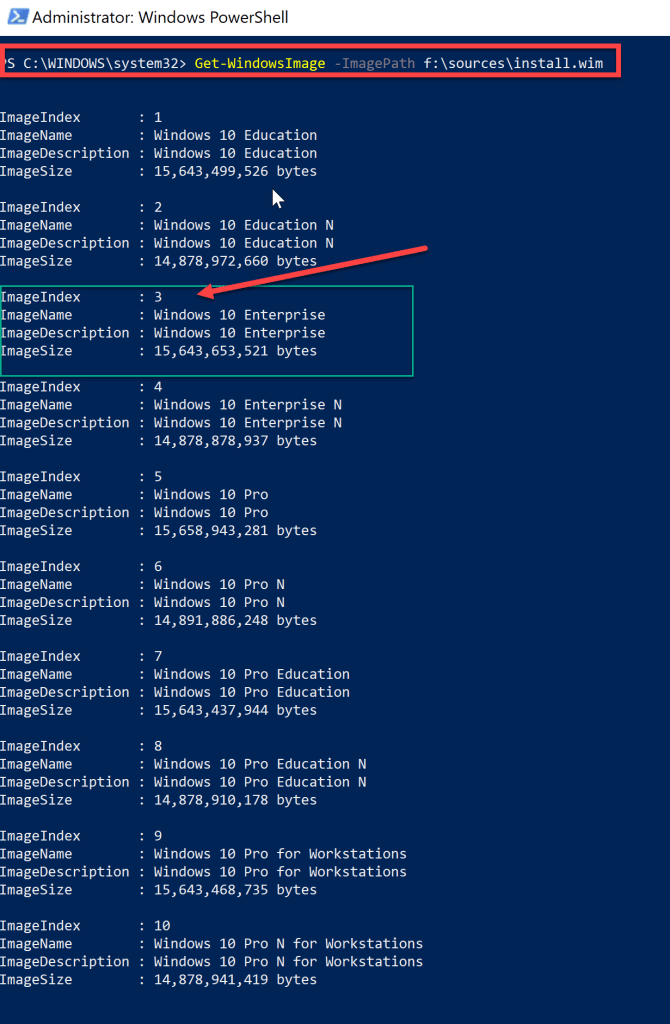 How to extract enterprise wim from ISO - Windows 10 1