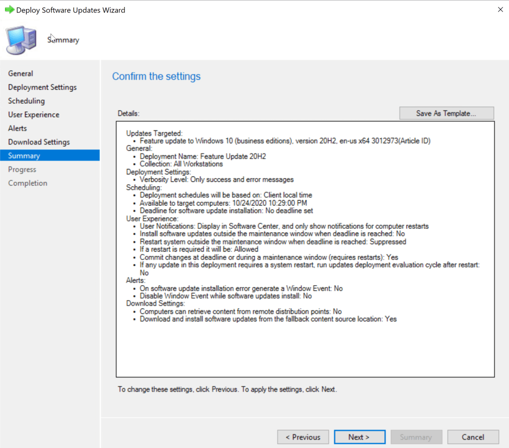 Update Windows 10 from 1909 to 20H2 using SCCM Feature Update 22
