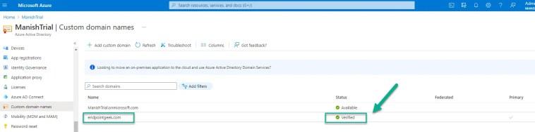 Custom Domain name Status Verified