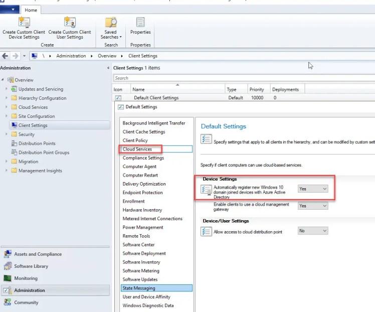 Client Settings Cloud Services