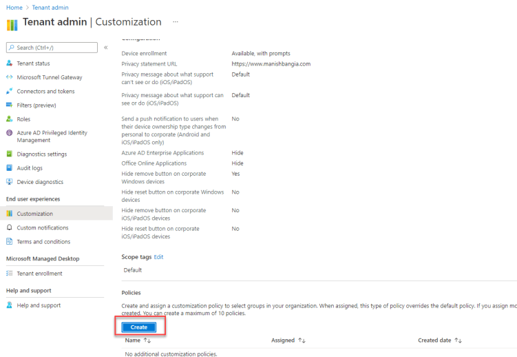 Create and assign a customization policy