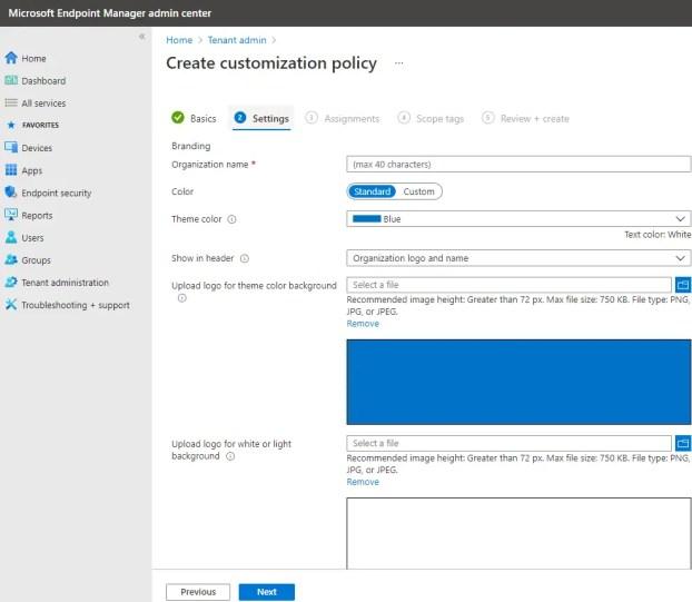 Tenant admin Create customization policy