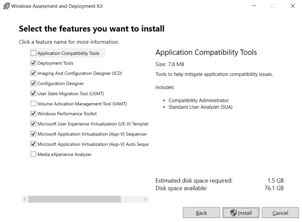 ADK Select the features you want to install