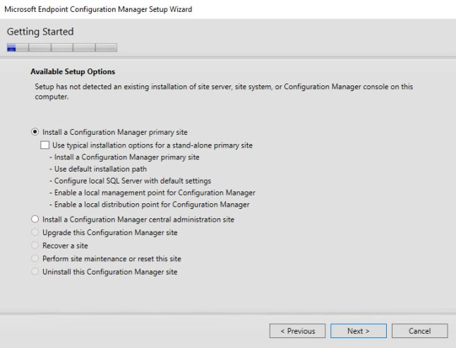 Install a Configuration Manager primary site