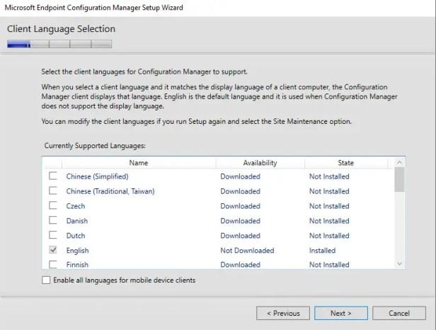 Client Language Selection