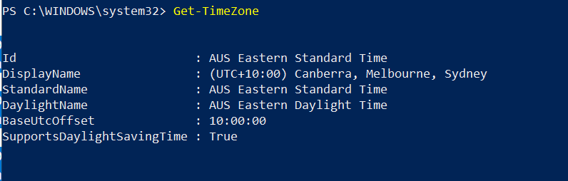 Get-TimeZone