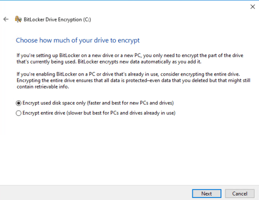 Encrypt used disk space only