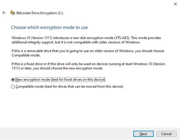 New encryption mode