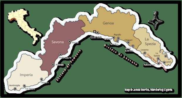 Italian Riviera Provinces (Courtesy Google)