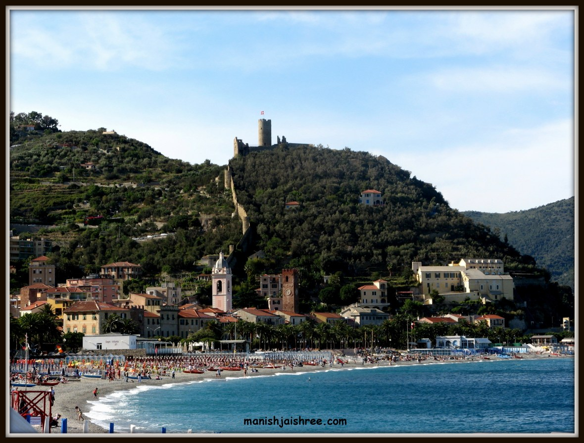 Noli- sea beach, castle, towers and town