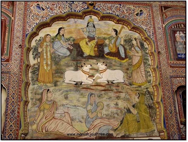 Krishna with Gopi, Poddar haveli, Nawalgarh