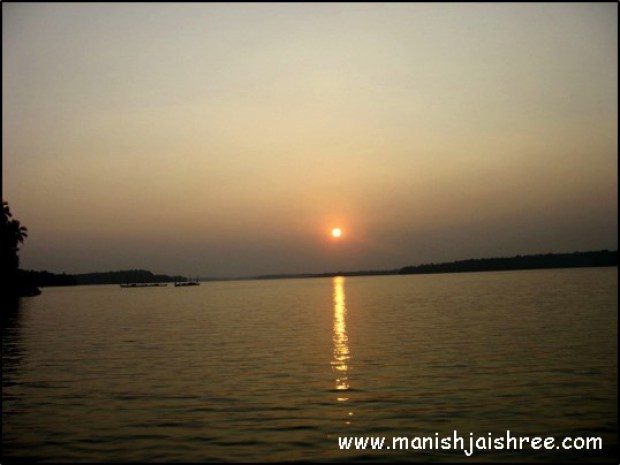 Sunset in backwaters
