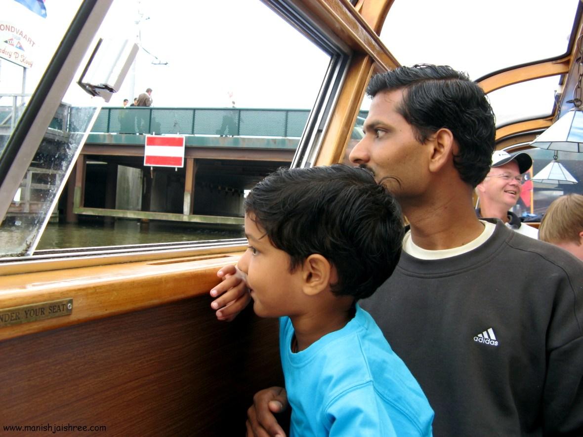 Father-Son Duo Enjoying the cruise