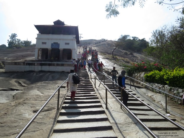 Climbing up the Vindhyagiri Hill, Shravanabelagola