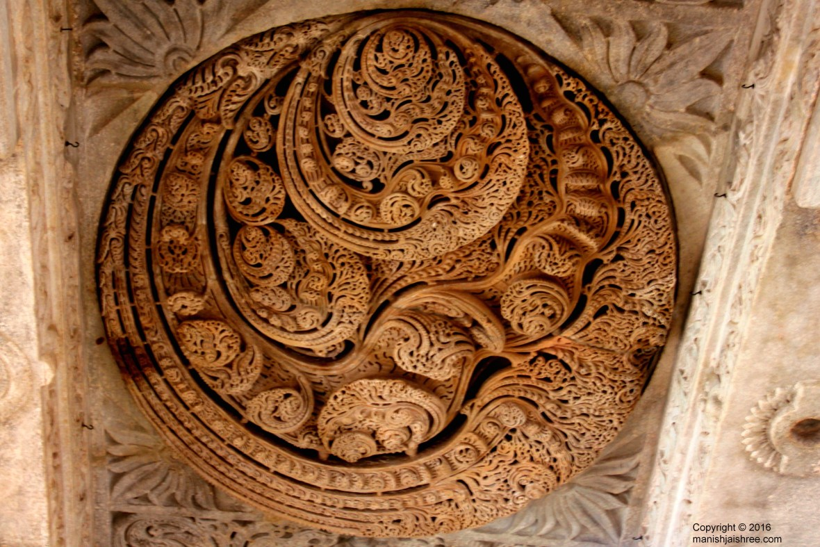 Om carved one hundred and eight times on the ceiling, Ranakpur