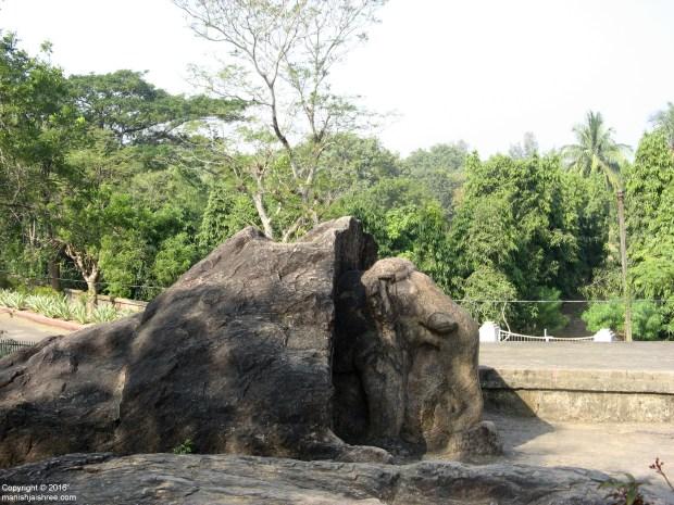 The monument that houses the famous inscriptions of Ashoka in Dhauli, Near Bhubaneswar, Odisha